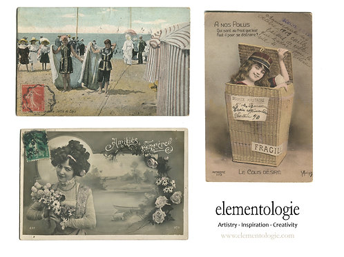 Vintage French Collage Postcard Sheet- No 9002-Digital Collage Sheet D