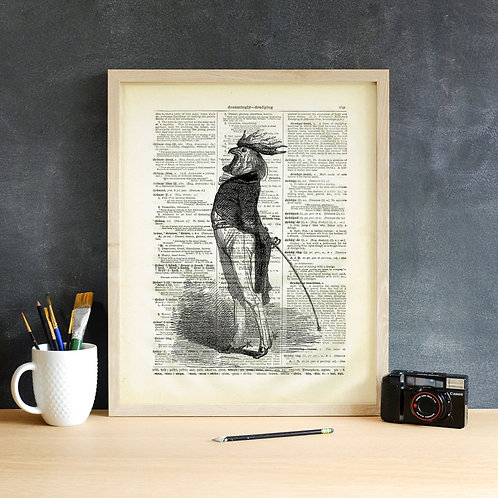 Rooster-Vintage Book Page Art Print No.11