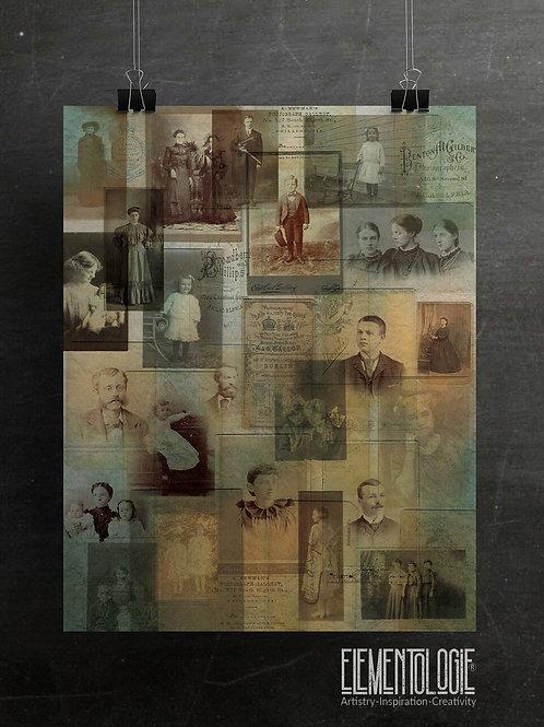 Vintage Photo Collage No.07-Aqua Tint Background