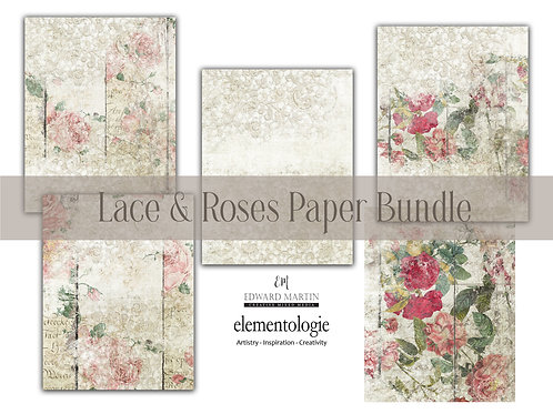 Lace & Roses Paper Pack No. 4460, Printable Paper Pack, Digital Paper, Gard