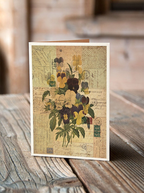Antique Botanical Collage Print-No.047-Blank Note Card