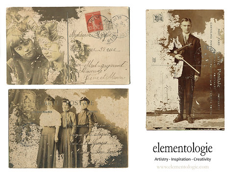 Vintage Photo French Postcard Sheet- No 9008-Digital Collage Sheet Downlo
