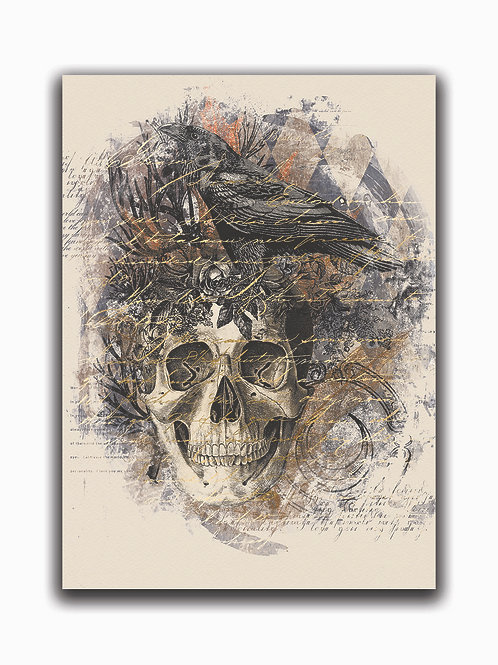 Skull and Raven Collage Print-No.0023-Blank Note Card