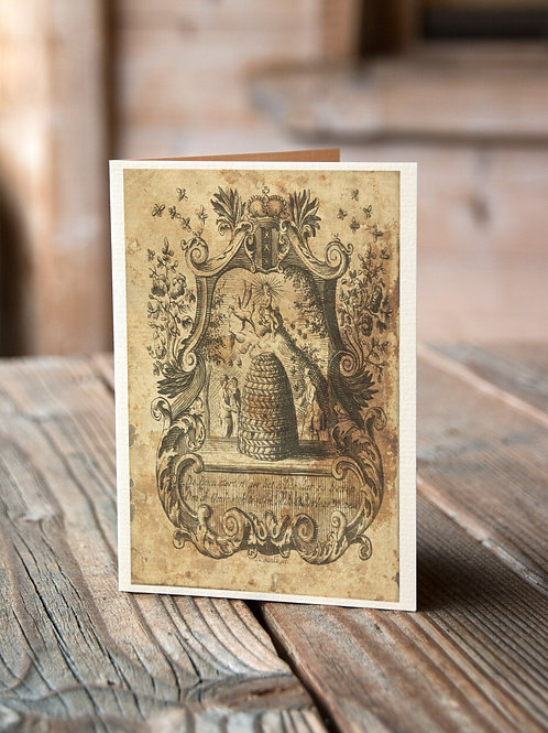 Antique Bee Hive Print-No.003-Blank Note Card