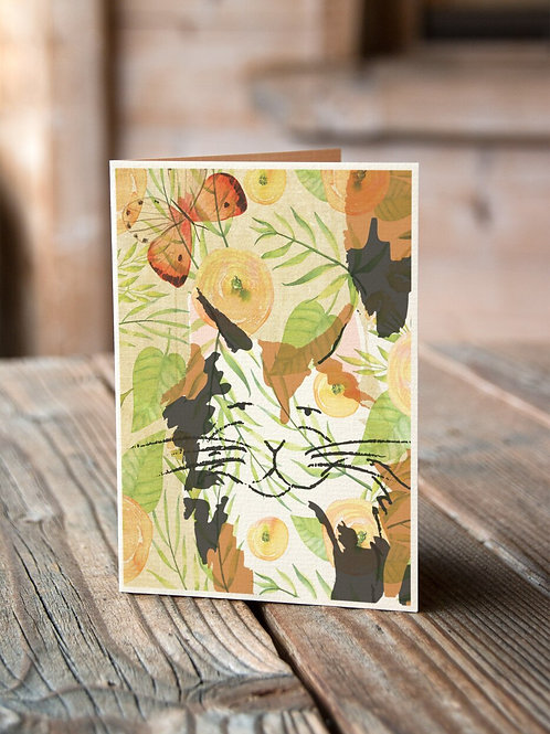 Cat Watercolor Collage Print-No.66347-Blank Note Card