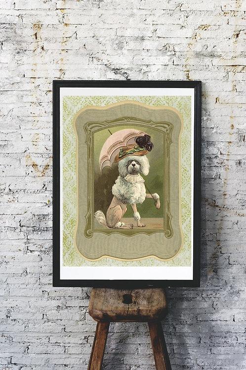 Collage French Poodle Portrait Print-No.99675