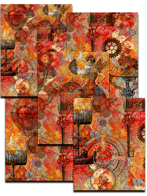 Steampunk Paper Pack No. 7000, Printable Paper Pack, Digital
