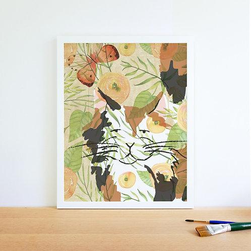 Cat Watercolor Collage Print-No.66347