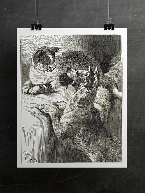 Vintage Dog and Cat Printable No. 66350