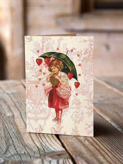 Rains Hearts-Vintage Image 003-Blank Note Card