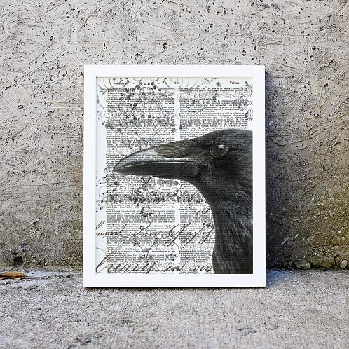 Raven- Vintage Book Page Art Print No. 04