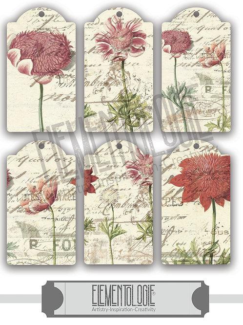 Vintage Botanical Collage Tags-No.00989 Digital Collage Sheet Download