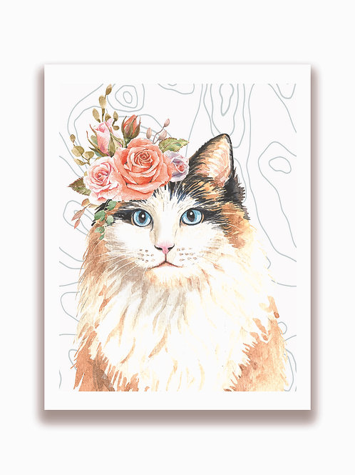 Cat Watercolor Collage Print-No.21001-Blank Note Card