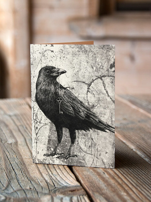 Raven Collage Print-No.001-Blank Note Card