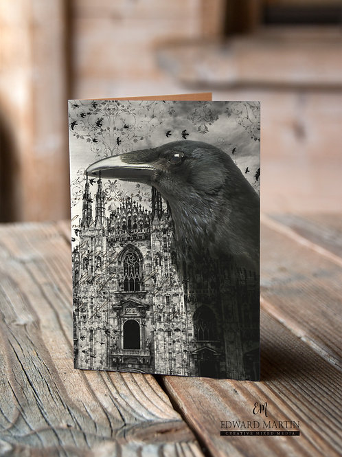 Raven Collage Print-No.507-Blank Note Card