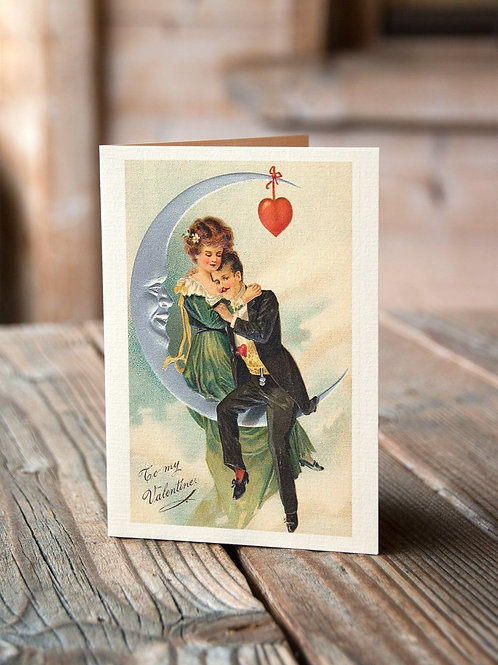 In Love To My Valentine-Vintage Image No. 009-Blank Note Card