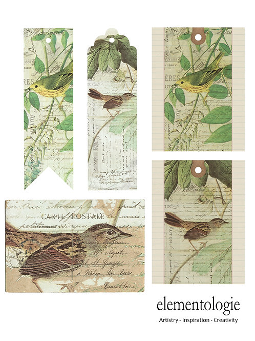 Vintage Bird Collage Journal Elements Sheet- No 4001-Digital Collage Sheet D