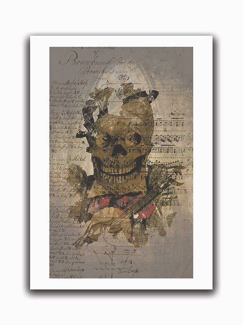 Skeleton Musician Collage Print-No.0028-Blank Note Card