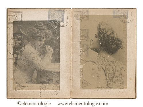 French Postcards Junk Journal Double Page Sheet- No 123016-Digital Downl