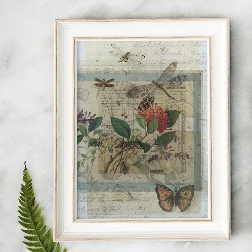 Antique Botanical Collage Print-No.079