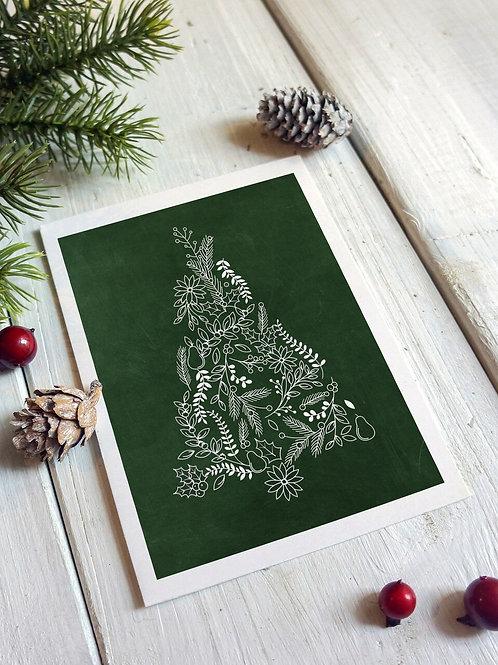 Christmas Holiday Green Chalkboard- Blank Card No.001