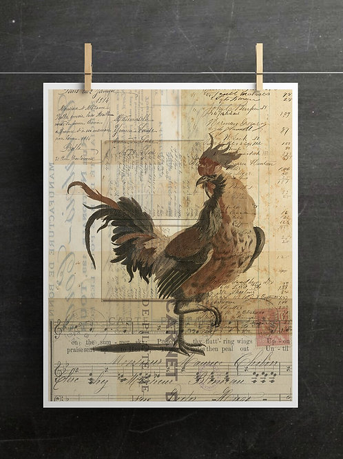 Vintage Rooster Collage Print-No.0987