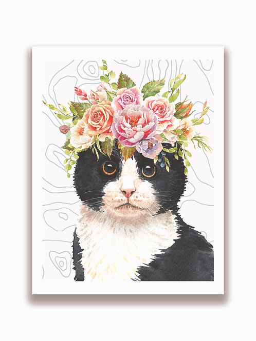 Cat Watercolor Collage Print-No.21000-Blank Note Card