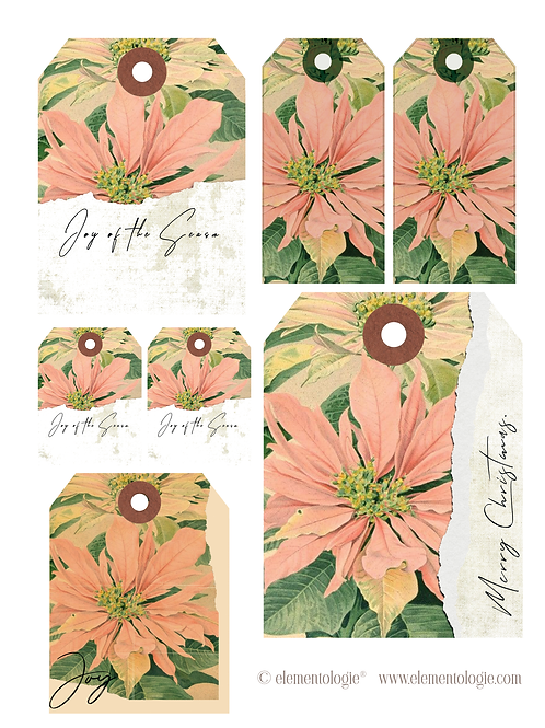 Holiday Botanical Gift Tags- No 20085-Digital Download