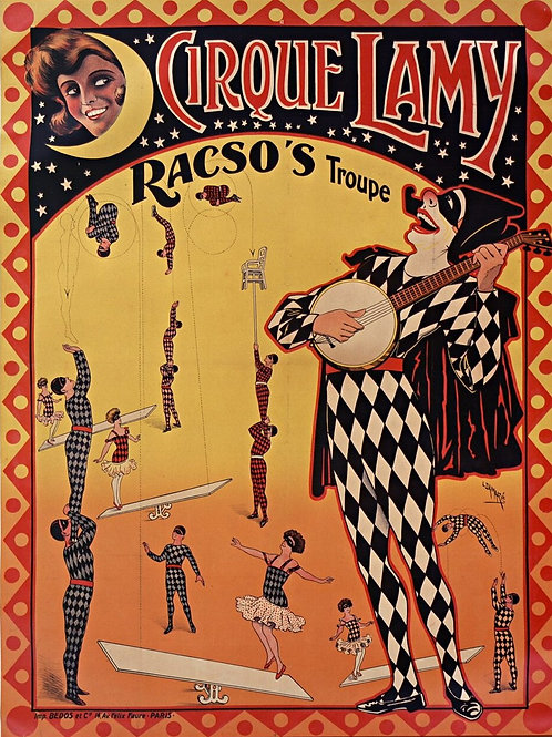 Vintage French Circus  Poster Print-Number 7768-Blank Note Card