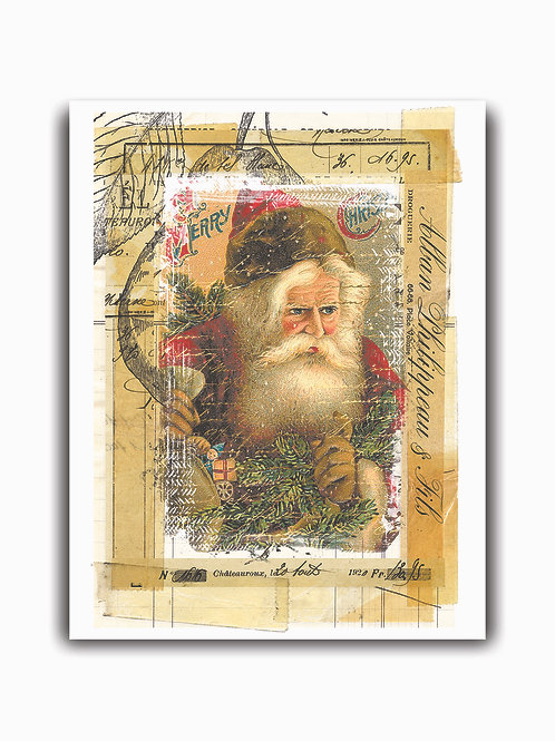 Old World Santa Collage No.0013- Blank Card