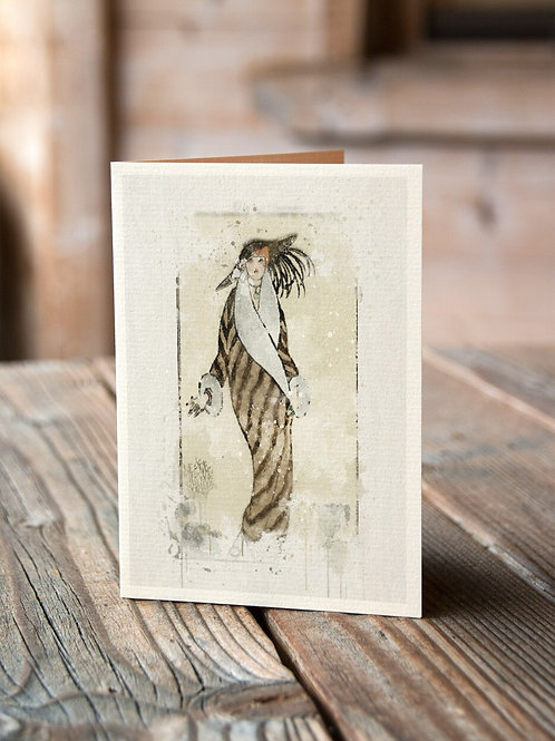 Watercolor French Fashion  Print-No.33321-Blank Note Card