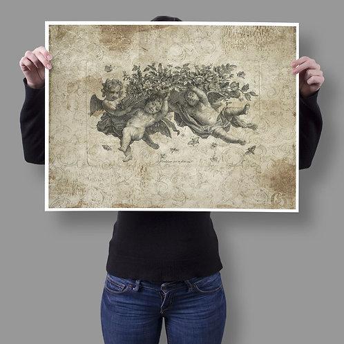 Antique Cherub Collage Print-No.008