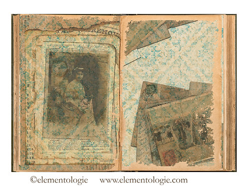 French Postcards Junk Journal Double Page Sheet- No 123019-Digital Downl