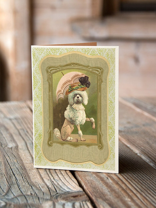 Collage French Poodle Portrait Print-No.99675-Blank Note Card