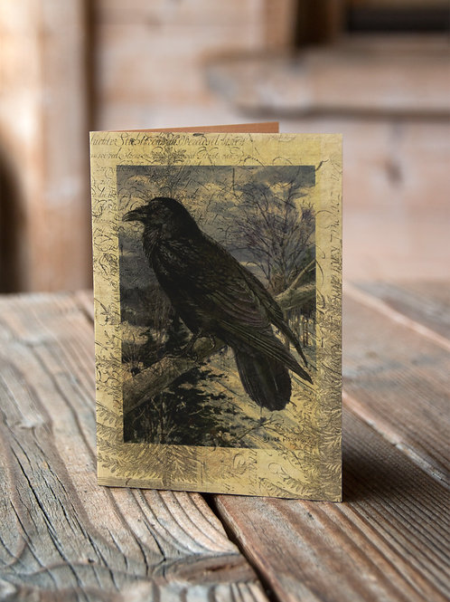 Raven Collage Print-No.508-Blank Note Card