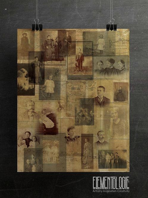 Vintage Photo Collage No.05-Aged Vellum Background