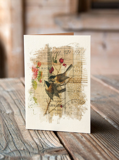 Bird Collage Print-No.011-Blank Note Card