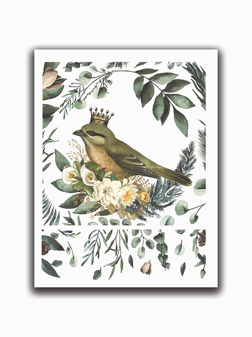 Crowned Bird Collage Print No. 00986-Blank Note Card