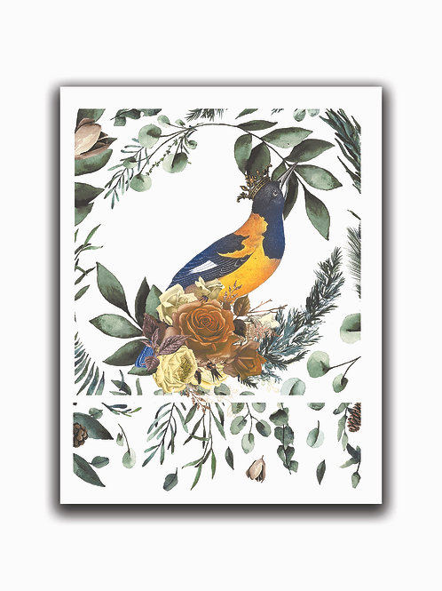 Crowned Bird Collage Print No. 00999-Blank Note Card