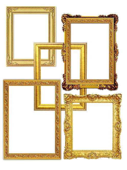 5 Gold Frames Embellishments- No 44005-Digital Download