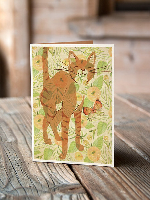 Cat Watercolor Collage Print-No.66346-Blank Note Card