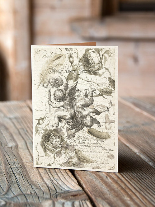 Antique Cherub Collage Print-No.009-Blank Note Card