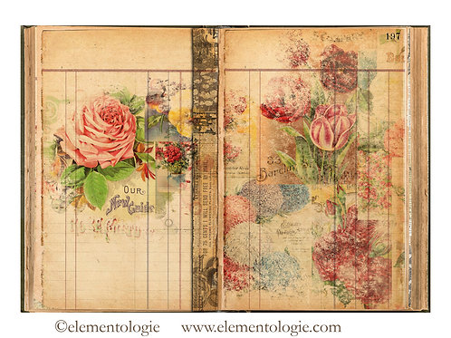 Botanical Junk Journal Double Page Sheet- No 123023-Digital Downl