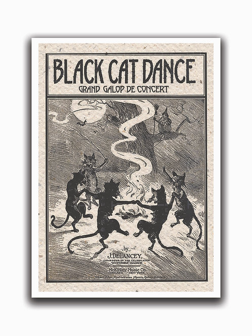 Black Cat Dance Print-No.0026-Blank Note Card