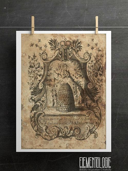 Antique Bee Hive Print-No.003