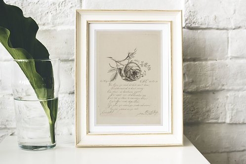 Antique Botanical & Poetry Print-No.032