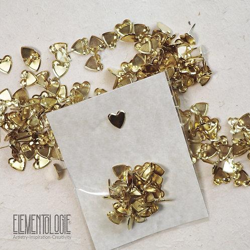 25 Gold Heart Brads/Paper Fasteners