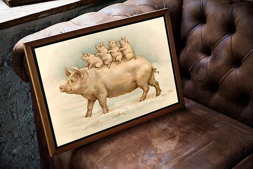 Vintage Pig Printable No. 3346