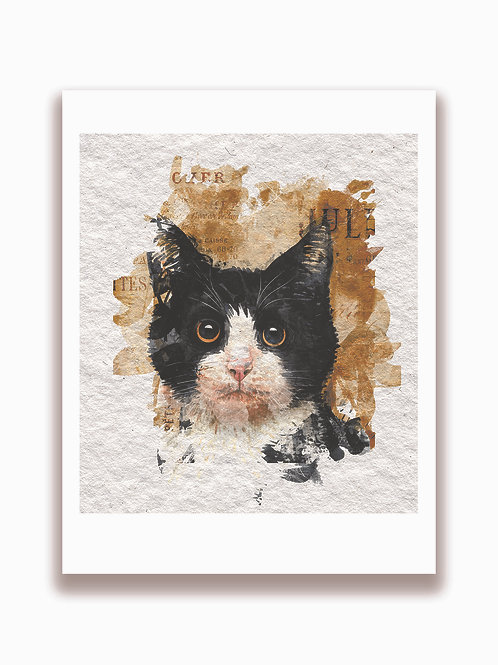 Cat Watercolor Collage Print-No.21002-Blank Note Card