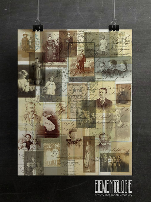 Vintage Photo Collage No.02- French Script Background